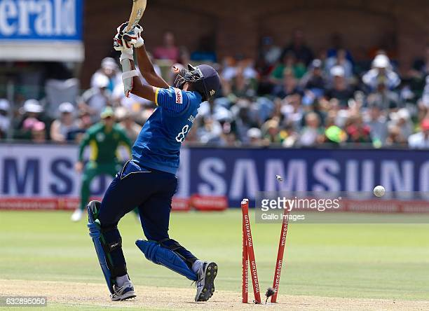 Suranga Lakmal of Sri Lanka loses his wicket during the 1st One Day International match between South Africa and Sri Lanka at St Georges Park on...