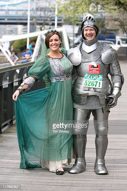 Suranne Jones and Lloyd Scott during Flora London Marathon 2006 Celebrity Photocall April 21 2006 at Thistle Hotel in London Great Britain