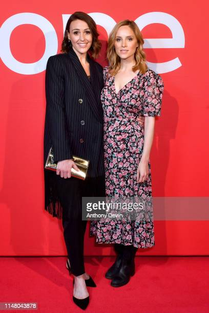 Suranne Jones and Sophie Rundle attend BBC One Drama Gentleman Jack Yorkshire Premiere at The Piece Hall on May 09 2019 in Halifax England
