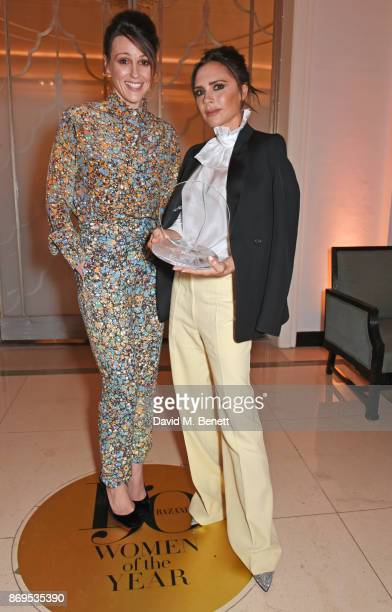 Suranne Jones and Victoria Beckham winner of the British Brand of the Year award attends Harper's Bazaar Women of the Year Awards in association with...