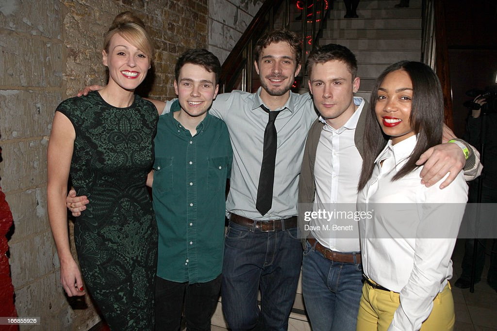 Suranne Jones, Jake Davies, Oliver Farnworth, Danny-Boy Hatchard and Zaraah Abrahams attend the 'Beautiful Thing' press night after party at Salvador and Amanda on April 17, 2013 in London, England.
