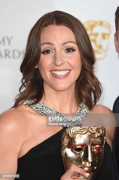 Suranne Jones poses in the winners room at the House Of Fraser British Academy Television Awards 2016 at the Royal Festival Hall on May 8 2016 in...
