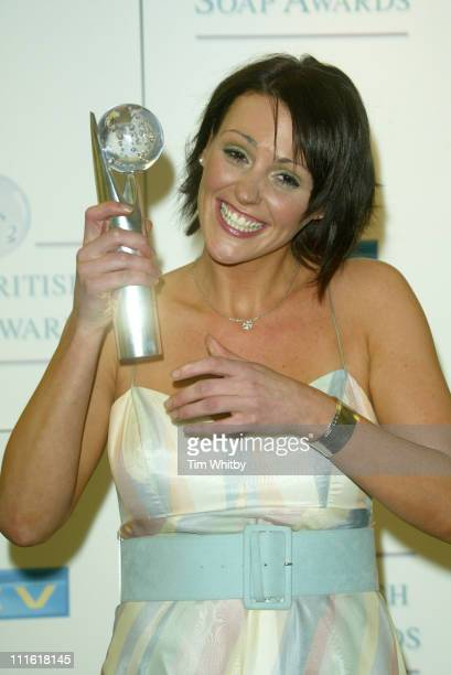 Suranne Jones Winner of Best Actress Award during The 2005 British Soap Awards Press Room at BBC Television Centre in London Great Britain