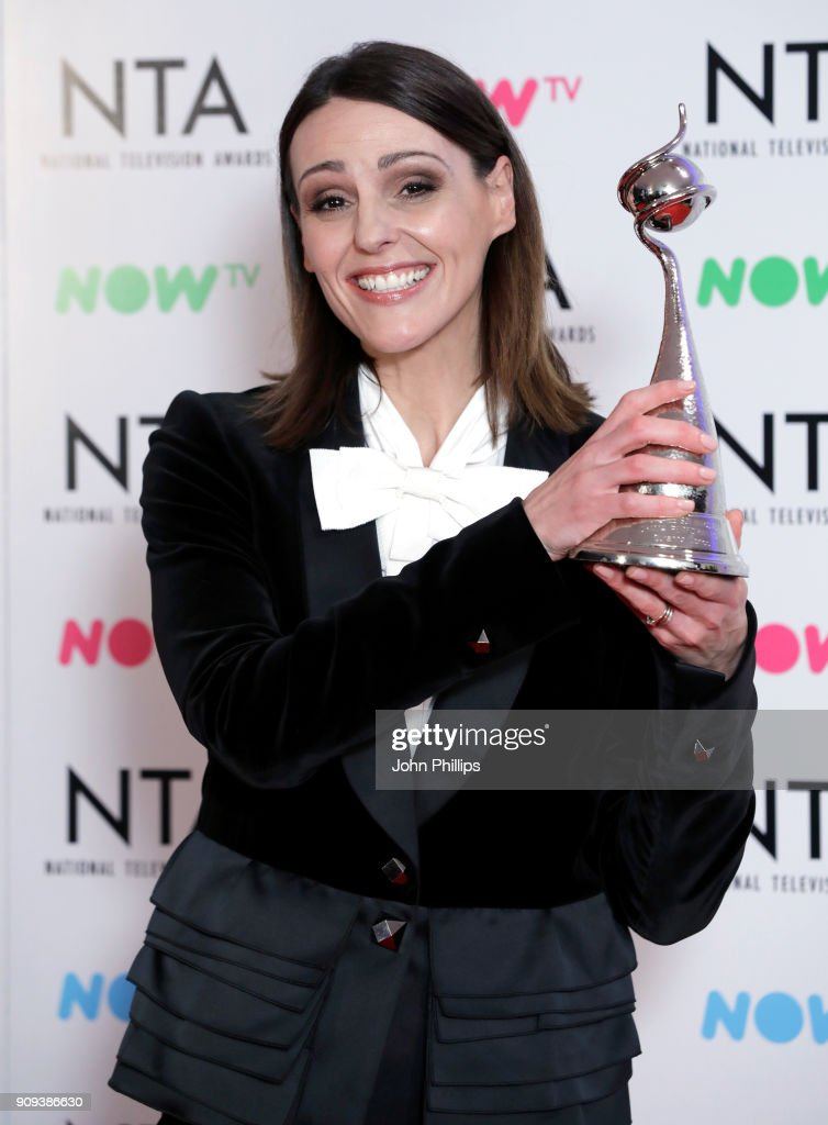 Suranne Jones with the Drama Performance award for 'Doctor Foster' during the National Television Awards 2018 at the O2 Arena on January 23, 2018 in London, England.