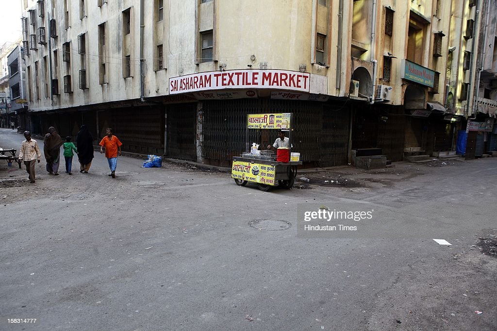 Surat's textile market closed during the first phase polling of Gujarat assembly election on December 13, 2012 in Surat, India.