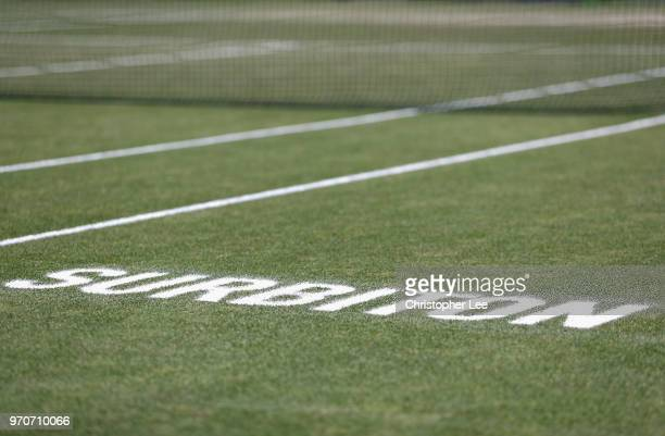 Surbiton is written on the grass court during Finas Day on Day 09 of the Fuzion 100 Surbition Trophy on June 10 2018 in London United Kingdom