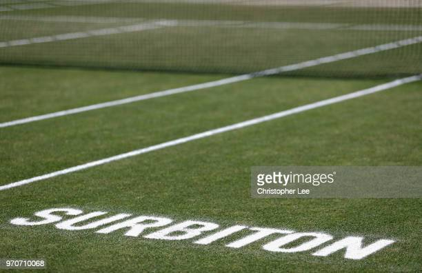 Surbiton is written on the grass court during Finas Day on Day 09 of the Fuzion 100 Surbition Trophy on June 10, 2018 in London, United Kingdom.