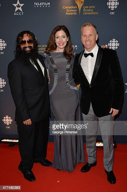 Suresh John actress Lauren Hammersley and Actor Gerry Dee arrive at the Canadian Screen AwardsÊat Sony Centre for the Performing Arts on March 9 2014...