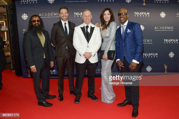 Suresh John Darrin Rose Gerry Dee Lauren Hammersley and Wes Williams attend 2017 Canadian Screen Awards at Sony Centre For Performing Arts on March...