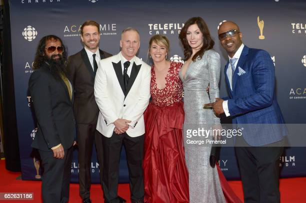 Suresh John Darrin Rose Gerry Dee Naomi Snieckus Lauren Hammersley and Wes Williams attend 2017 Canadian Screen Awards at Sony Centre For Performing...