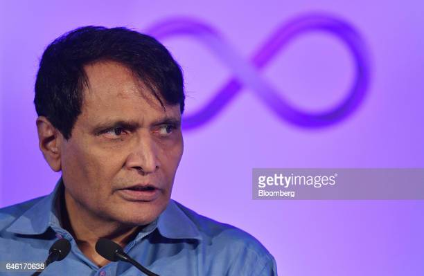 Suresh Prabhu Indias railway minister attends an event hosted by Hyperloop Technologies Inc known as Hyperloop One in New Delhi India on Tuesday Feb...