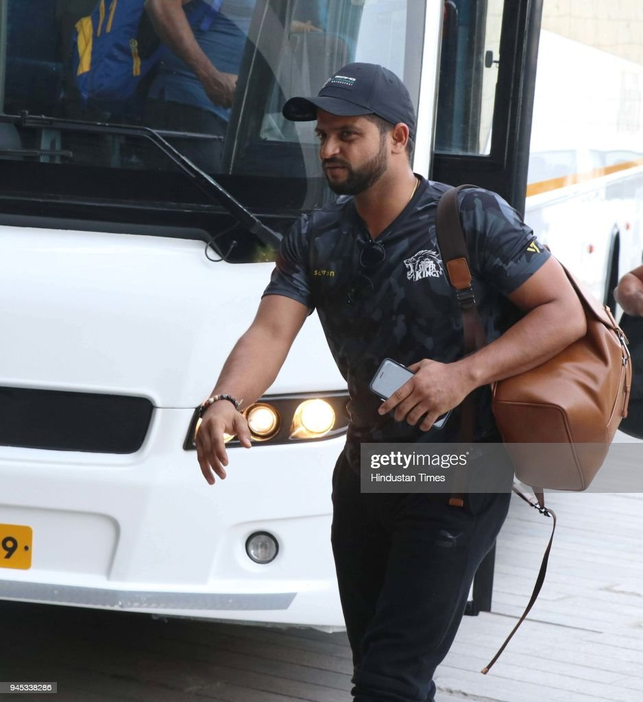 Suresh Raina coming out from the Chandigarh airport on April 12 2018 in Chandigarh India