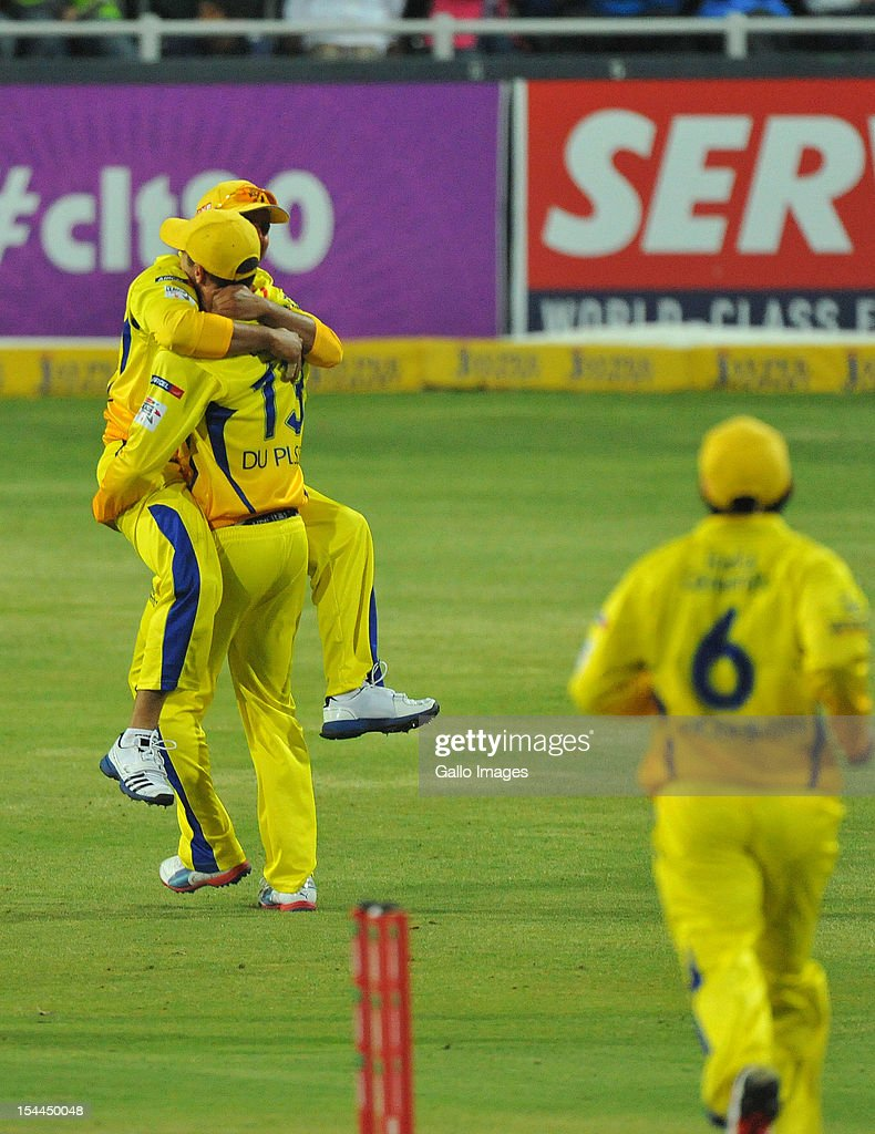 Suresh Raina of CSK celebrates the catch to dismiss Sachin Tendulkar of Mumbai for 2 runs during the Karbonn Smart CLT20 match between Chennai Super Kings and Mumbai Indians at Bidvest Wanderers Stadium on October 20, 2012 in Johannesburg, South Africa.