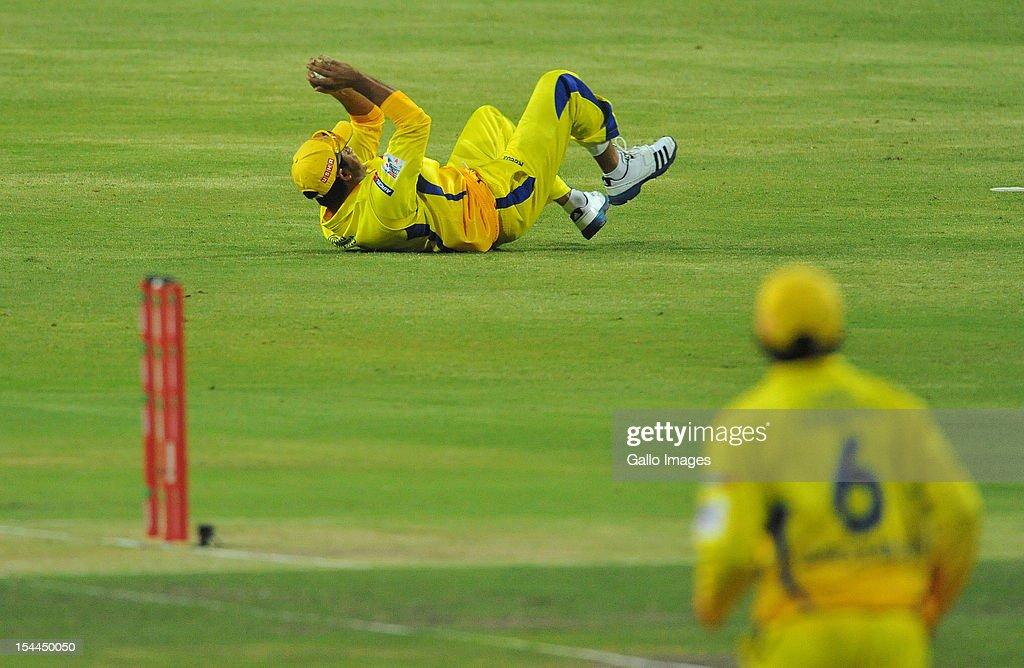Suresh Raina of CSK holds on to the catch to dismiss Sachin Tendulkar of Mumbai for 2 runs during the Karbonn Smart CLT20 match between Chennai Super Kings and Mumbai Indians at Bidvest Wanderers Stadium on October 20, 2012 in Johannesburg, South Africa.