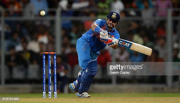 Suresh Raina of India bats during the ICC Twenty20 World Cup warm up match between India and South Africa at Wankhede Stadium on March 12 2016 in...