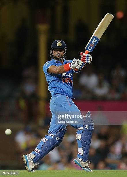 Suresh Raina of India bats during the International Twenty20 match between Australia and India at Sydney Cricket Ground on January 31 2016 in Sydney...