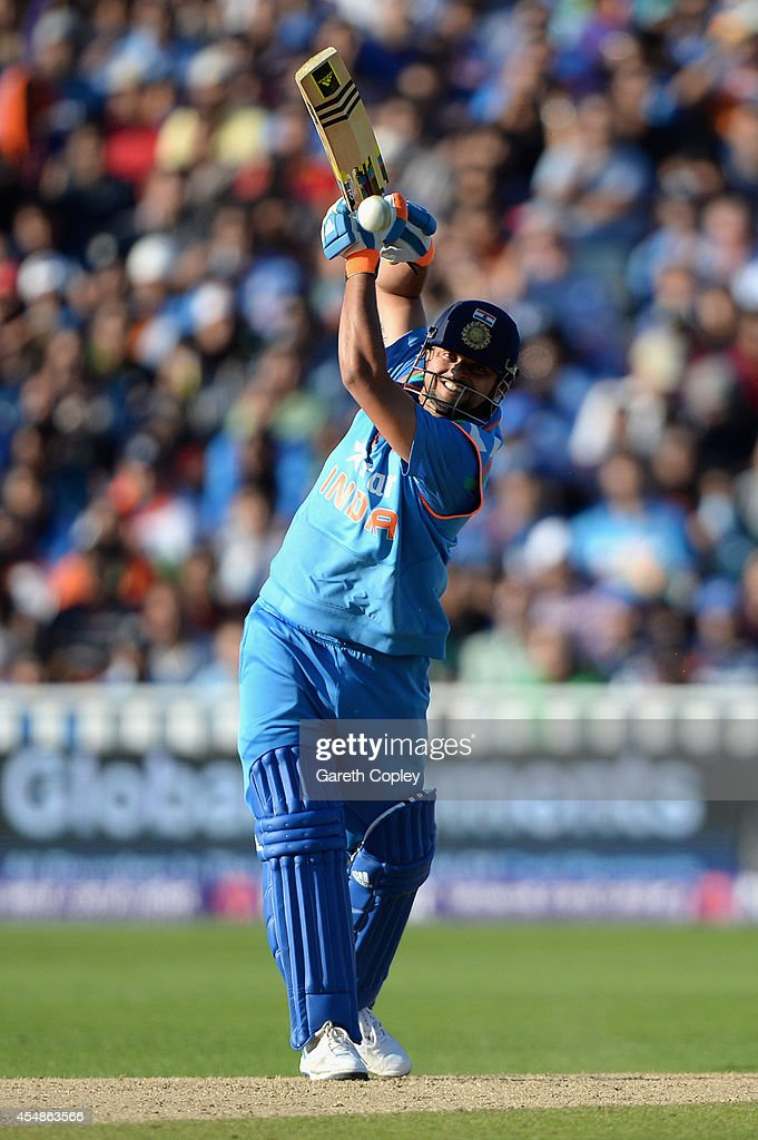 Suresh Raina of India bats during the NatWest International T20 between England and India at Edgbaston on September 7, 2014 in Birmingham, England.