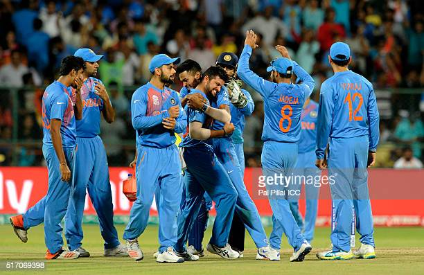 Suresh Raina of India celebrates the wicket of Sabbir Rahman of Bangladesh during the ICC World Twenty20 India 2016 match between India and...
