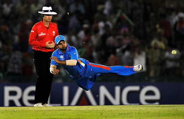 Suresh Raina of India fields during the 2011 ICC World Cup second SemiFinal between India and Pakistan at Punjab Cricket Association Stadium on March.