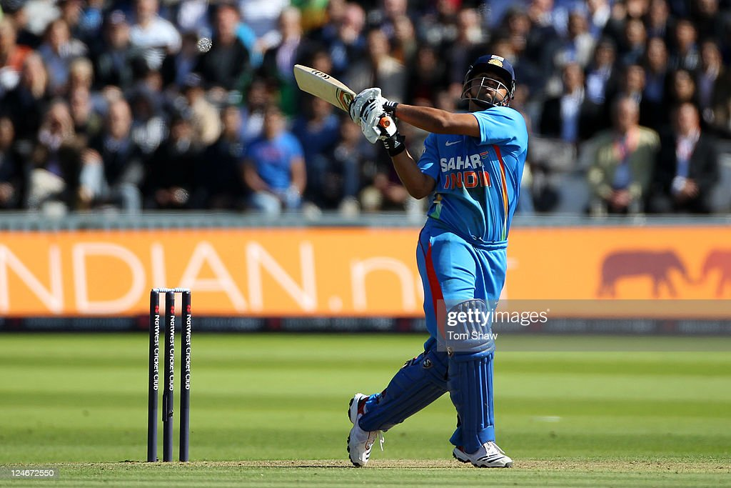 Suresh Raina of India hits out during the 4th Natwest One Day International match between England and India at Lord's Cricket Ground on September 11, 2011 in London, United Kingdom.