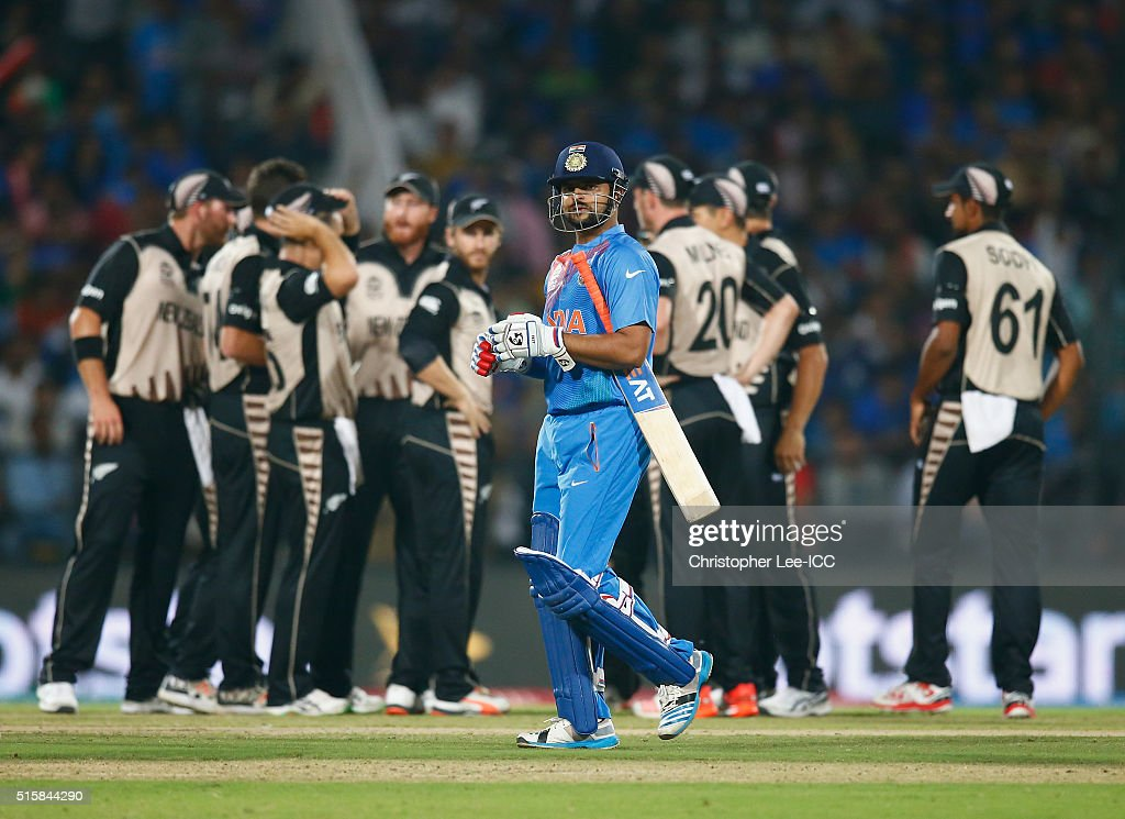 Suresh Raina of India leaves the field after being caught out during the ICC World Twenty20 India 2016 Group 2 match between New Zealand and India at the Vidarbha Cricket Association Stadium on March 15, 2016 in Nagpur, India.