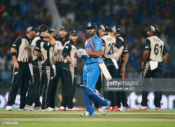 Suresh Raina of India leaves the field after being caught out during the ICC World Twenty20 India 2016 Group 2 match between New Zealand and India at...