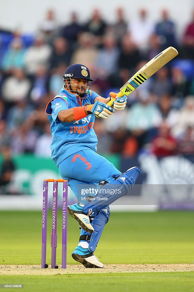 Suresh Raina of India pulls a delivery during the second Royal London One-Day Series match between England and India at the SWALEC Stadium on August 27, 2014 in Cardiff, Wales.