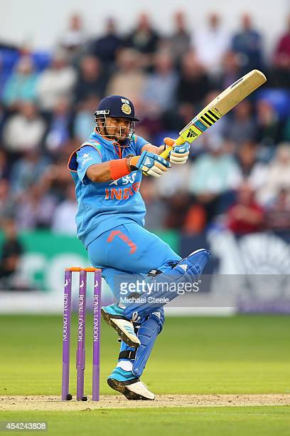 Suresh Raina of India pulls a delivery during the second Royal London OneDay Series match between England and India at the SWALEC Stadium on August...
