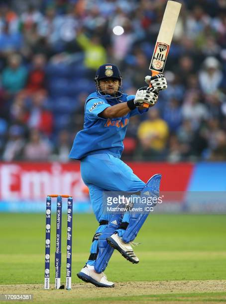 Suresh Raina of India pulls the ball towards the boundary during the ICC Champions Trophy Semi Final match between India and Sri Lanka at SWALEC...