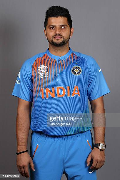 Suresh Raina poses during the India Headshots session ahead of the ICC Twenty20 World Cup on March 8 2016 in Kolkata India