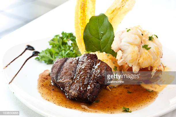 surf and turf - course meal stock pictures, royalty-free photos & images