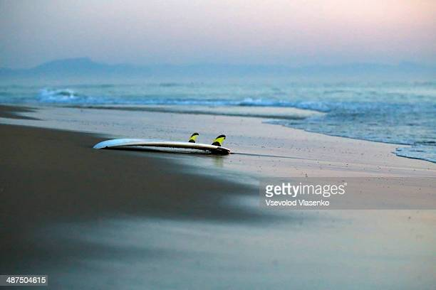 Surf board on empty beach