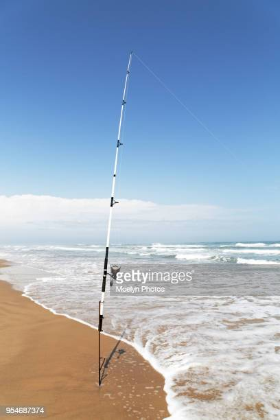 surf casting - texas gulf coast stock photos and pictures