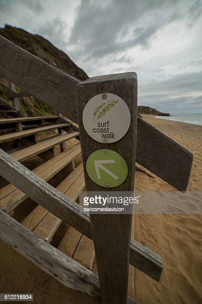 Surf coast walk sign on stairs leading down to Beach