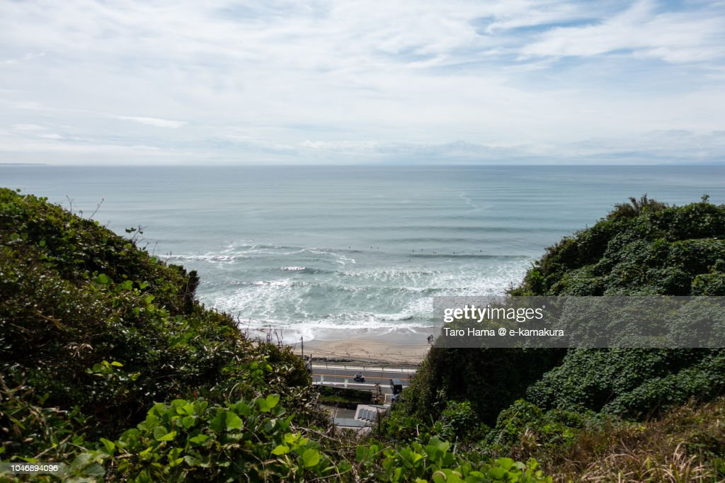 A surf day in Kamakura in Japan : ストックフォト