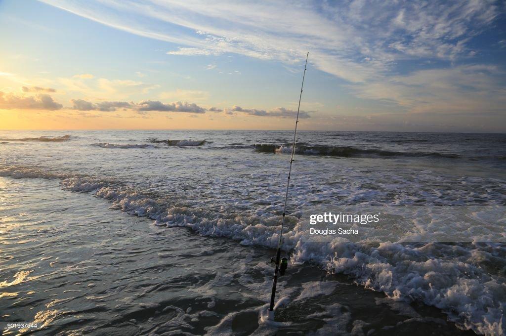 Surf Fishing Rod On The Beach Virginia Usa Stock Photo