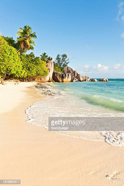 Surf lapping idyllic tropical island beach palm trees lagoon Seychelles