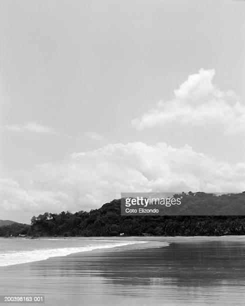 surf lapping tropical beach (b&w) - playa carrillo fotografías e imágenes de stock
