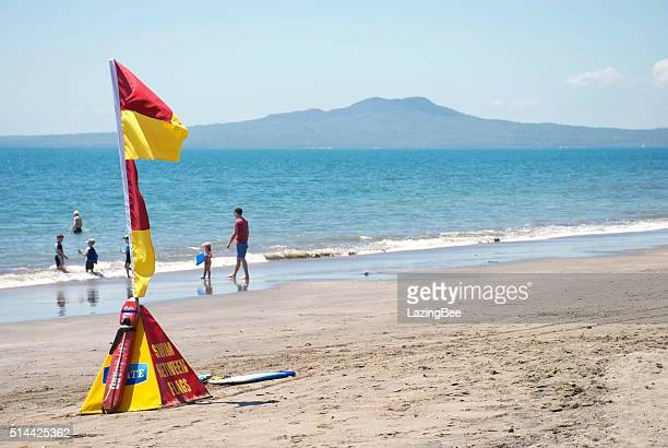 Surf Life Saving New Zealand (SLSNZ) Flags on Auckland Beach