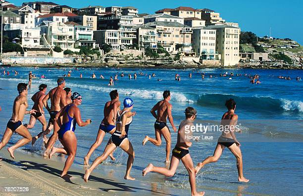 Surf lifesaver training at Bondi Beach, Sydney, New South Wales, Australia, Australasia