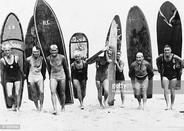 Surf Riders Of Sydney Australia With Their Surf Boards