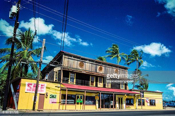 surf shop on the north shore - haleiwa stock photos and pictures