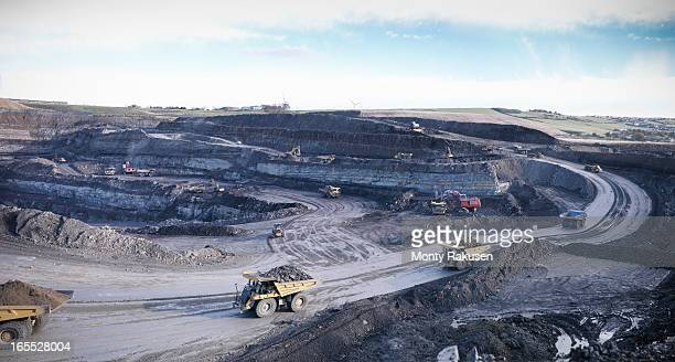 surface coal mine site, elevated view - coal mining stock photos and pictures