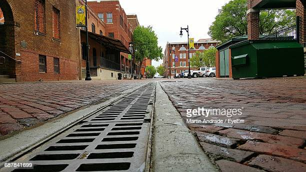surface level alley in city - wichita stock photos and pictures