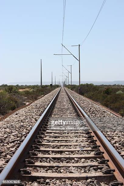 Surface Level Of Railroad Track Against Clear Sky