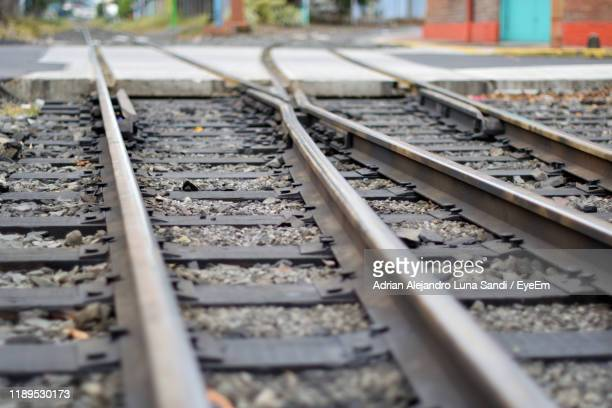 surface level of railroad tracks - alejandro sandi stock photos and pictures