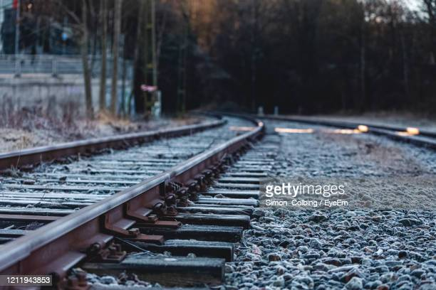 surface level of railroad tracks - colbing stock pictures, royalty-free photos & images