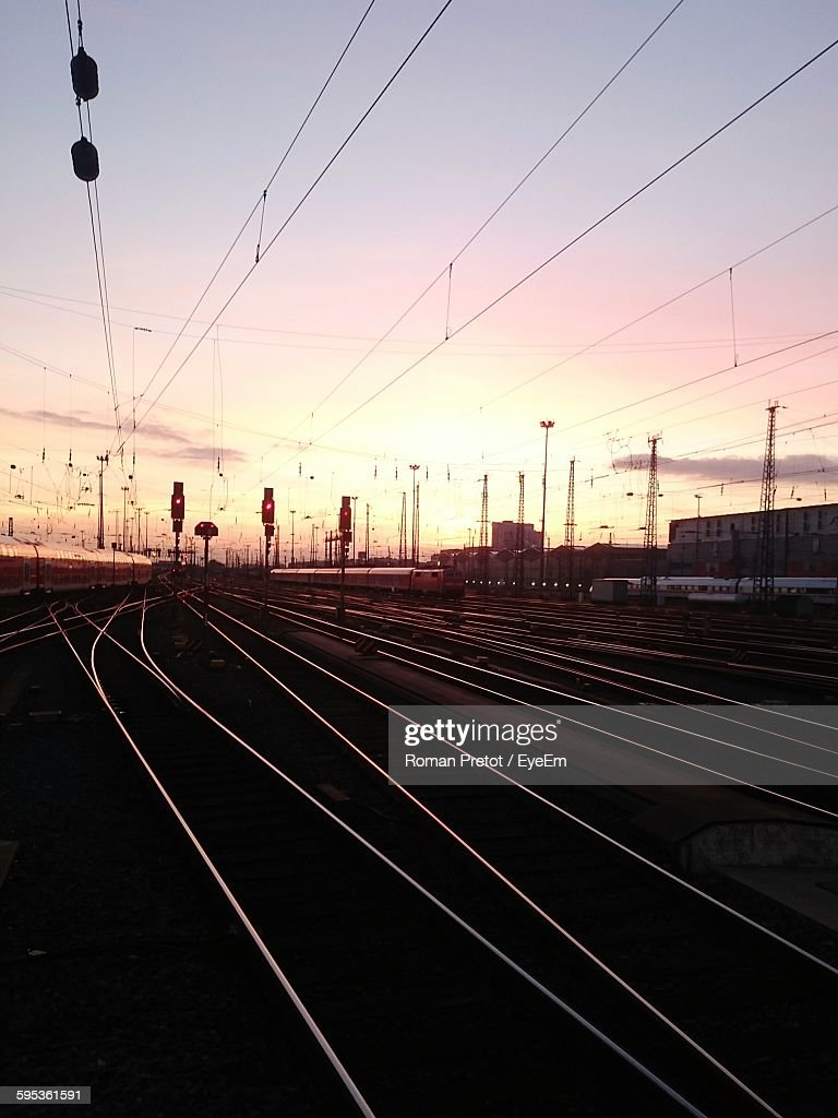 Surface Level Of Railway Tracks At Sunset : Stock Photo