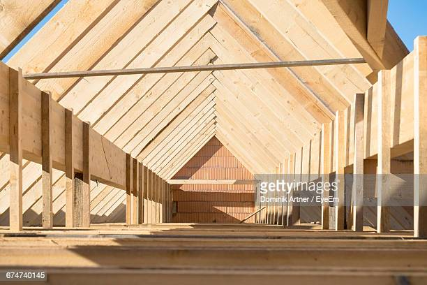 Surface Level Of Wooden Attic In Under Construction House