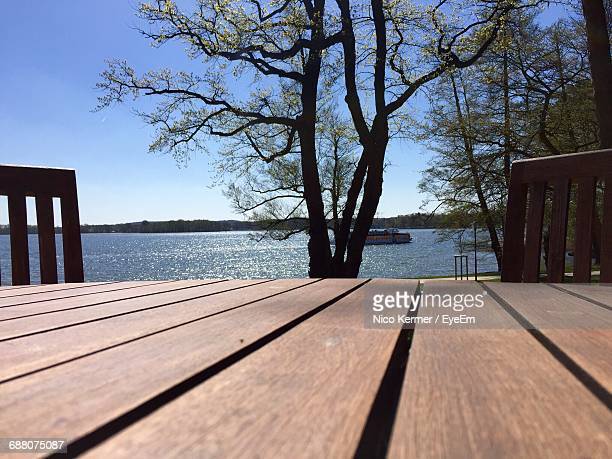 Surface Level Of Wooden Table By Tree Against River On Sunny Day